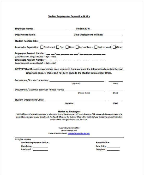 student employment notice