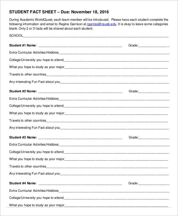student fact sheet