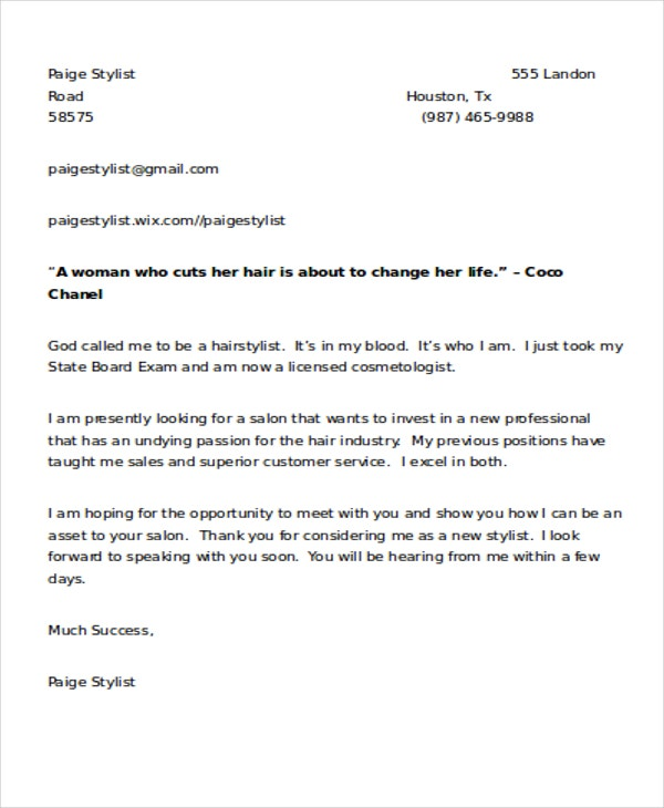 9 Hair Stylist Cover Letters Free Amp Premium Templates