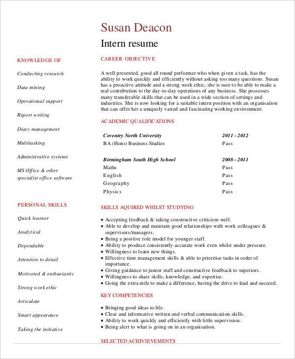 Student Internship Resume Example
