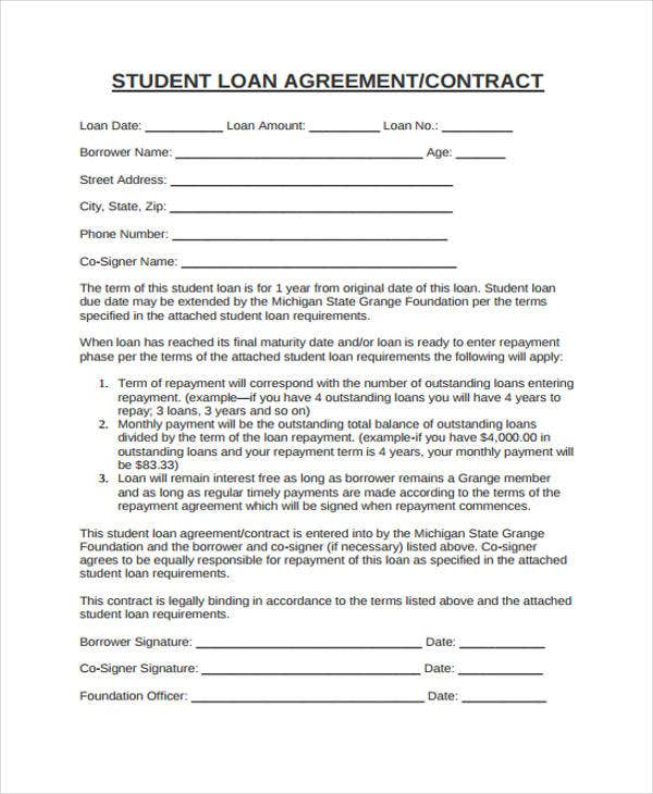 12 student contract templates free sample example for Tuition contract template