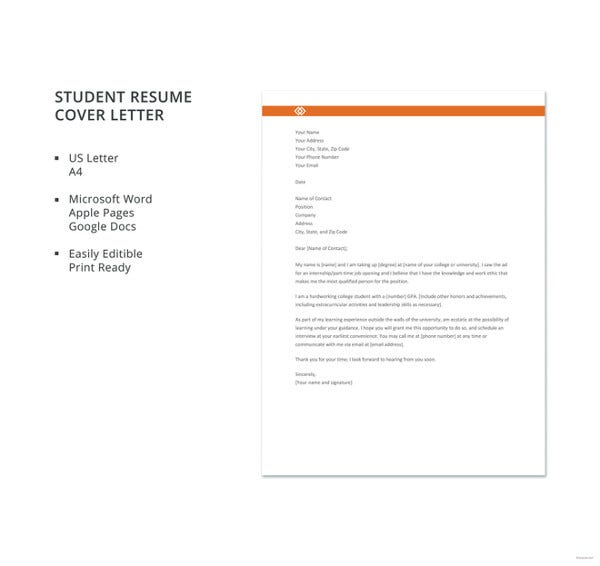 Student Resume Cover Letter Template