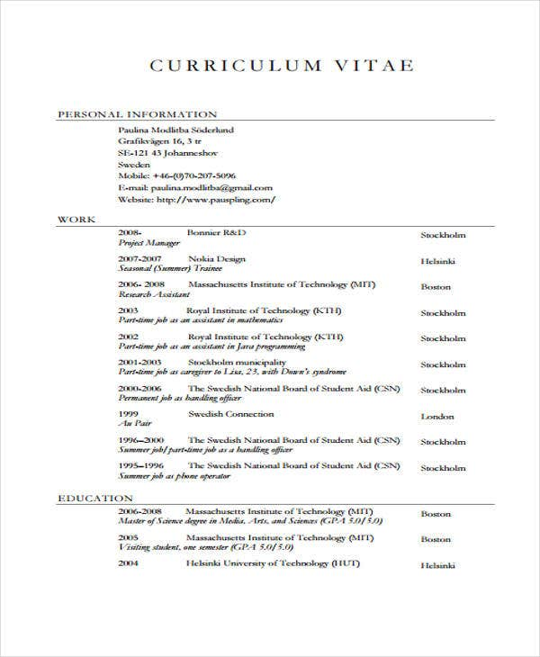 cv example summer job