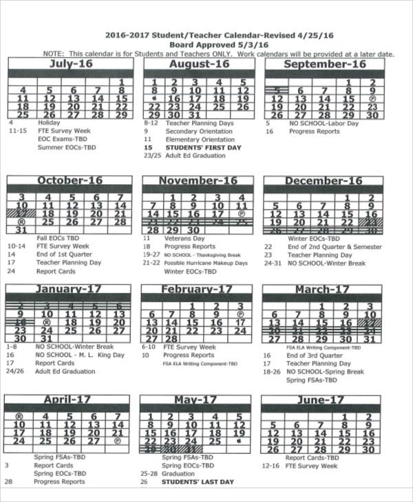 Student Teacher Calendar Template