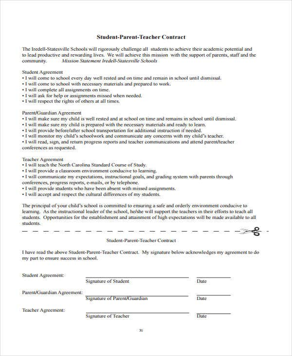 9 Teacher Contract Templates – Student Agreement Contract