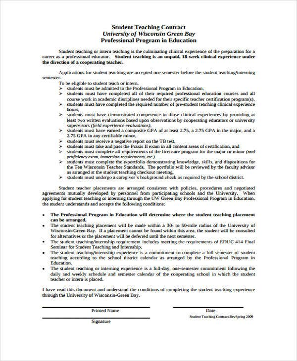 student teacher contract template - 8 teacher contract templates free word pdf format