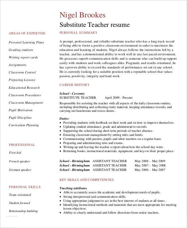Substitute Teacher Resume Example