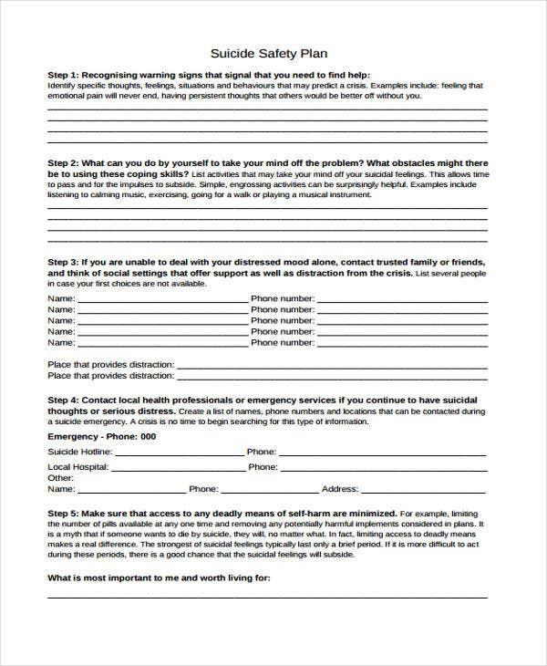 42 plan samples free premium templates for Suicide safety plan template