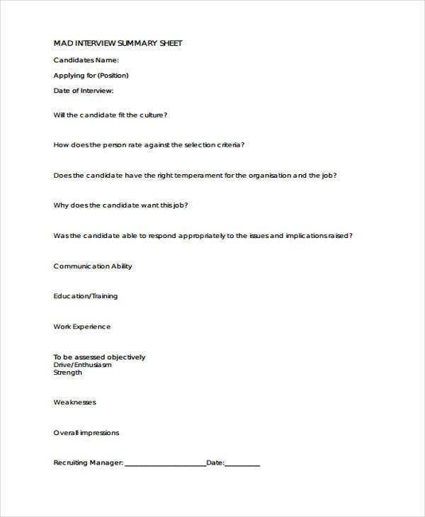 Interview Sheet Templates  Free Sample Example Format Download