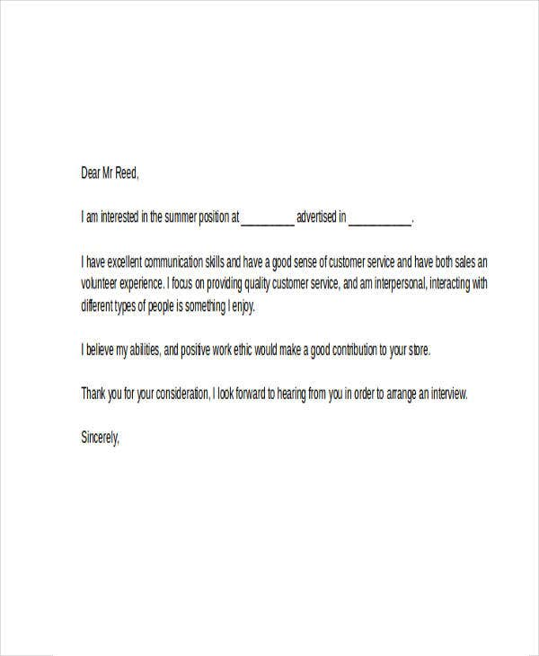 summer job cover letter 9 free word pdf format