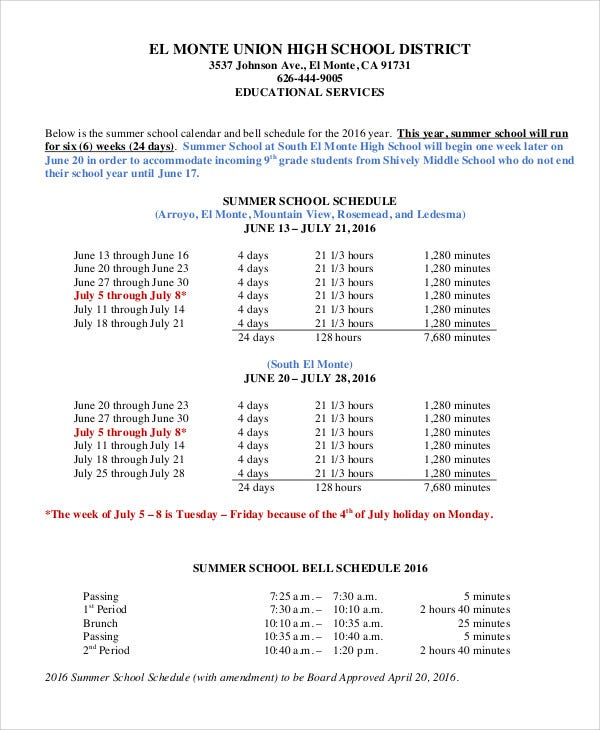 middle school class schedule template