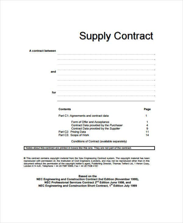 7+ Supply Contract Templates - Free Word, Pdf Format Download