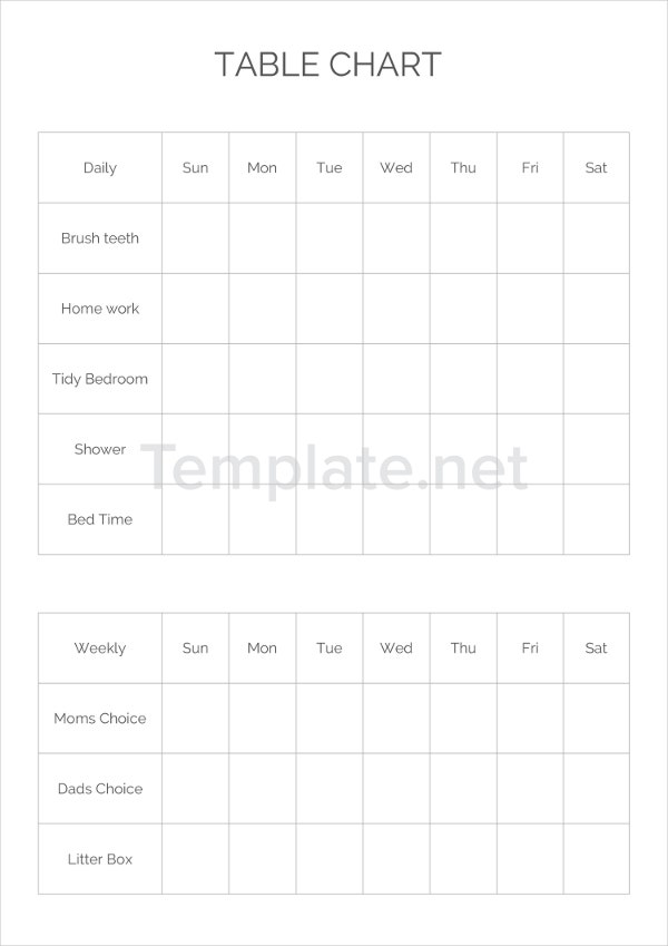 Table Chart Templates