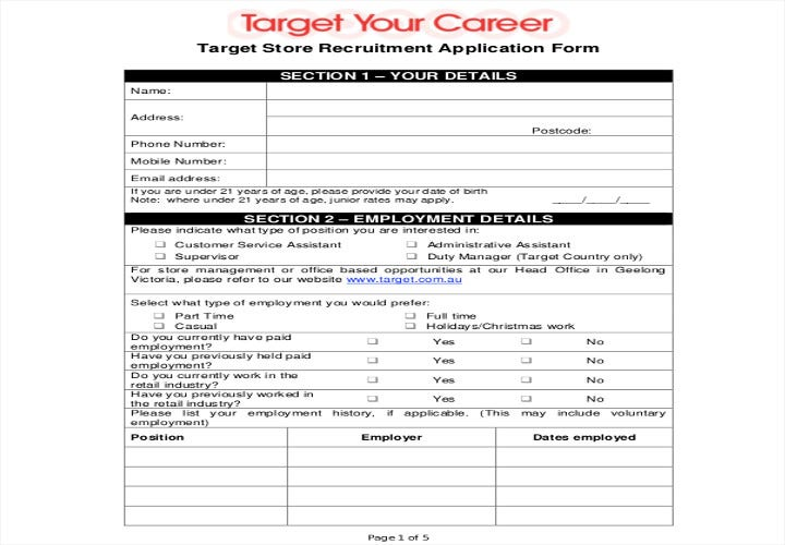 target store job application form