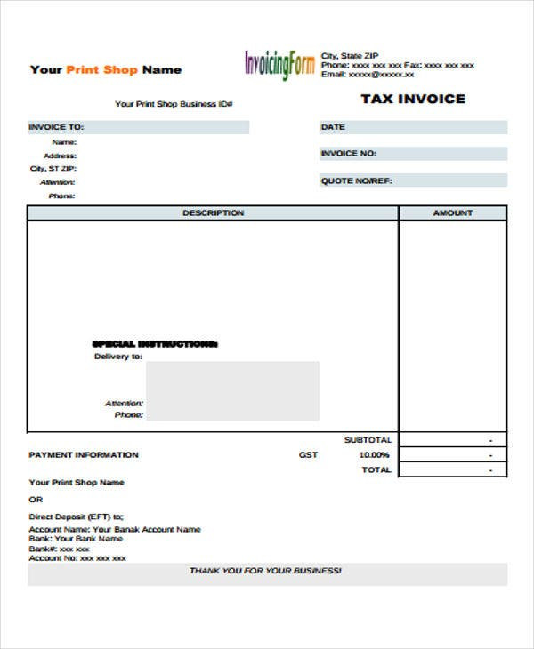 9 simple invoice templates free sample example format download