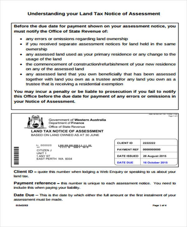 Notice Of Assessment Templates Free Word Pdf Format Download