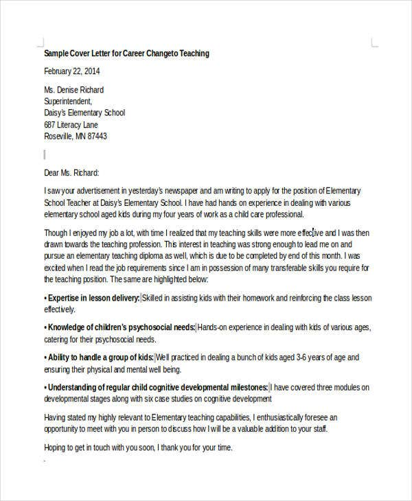 6 Career Change Cover Letter Free Sample Example Format Download