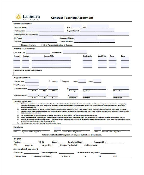 Teacher Agreement Contract BehaviorContractInWord Sample