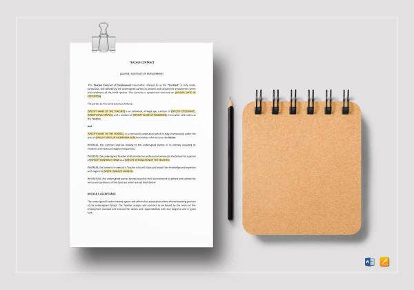 teacher contract template