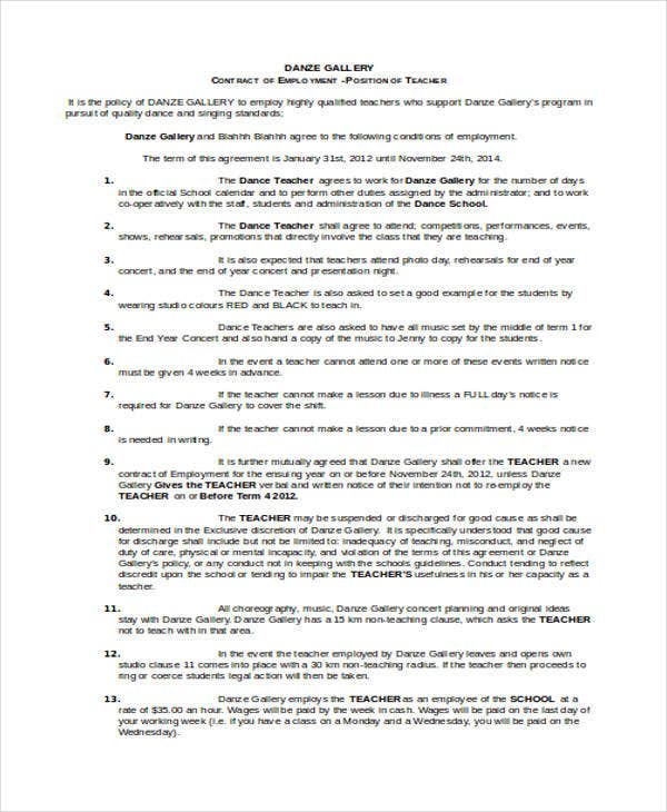8 Teacher Contract Templates Free Word PDF Format Download – Teacher Agreement Contract