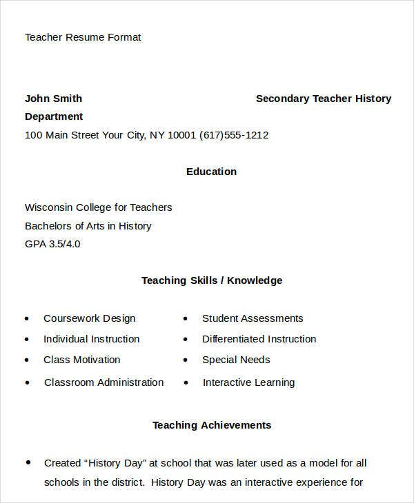 Teacher Resume Format In Doc