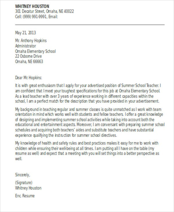 Summer Job Cover Letter Templates Sample Example  Free