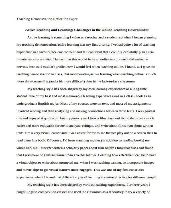teaching reflection paper