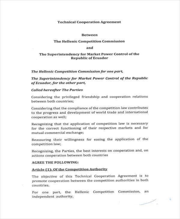 Technical Cooperation  Draft Agreement Between Two Parties