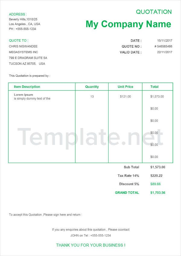 Technical Quotation Template