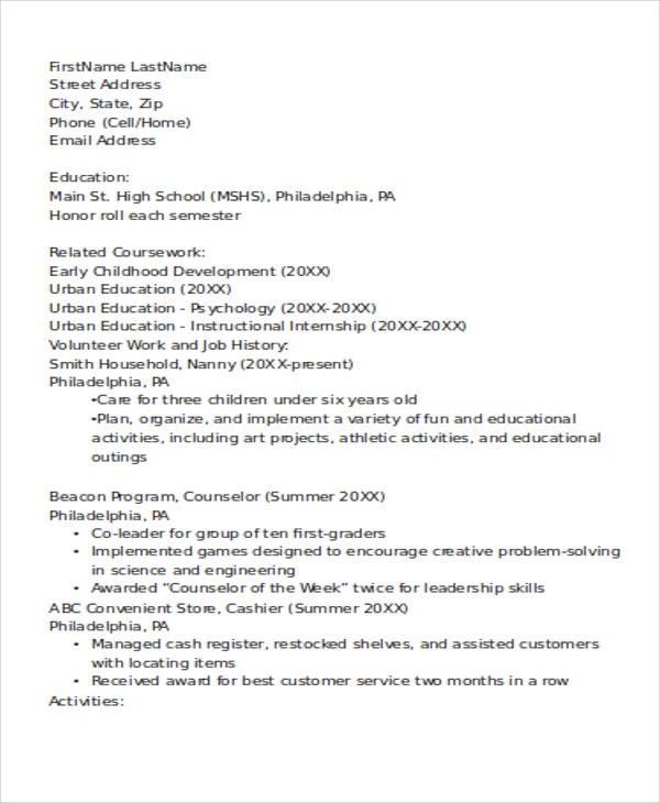 8  lifeguard resume