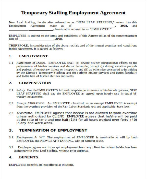 36 agreement templates in word free premium templates for Temporary employment contract template free