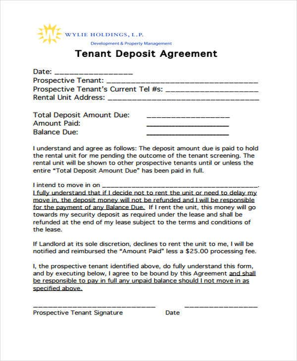 11 Deposit Agreement Templates Pdf Word Free Premium