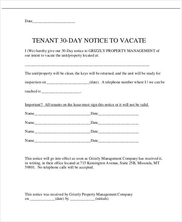11 30 day notice templates free sample example format download tenant 30 day notice template altavistaventures Gallery