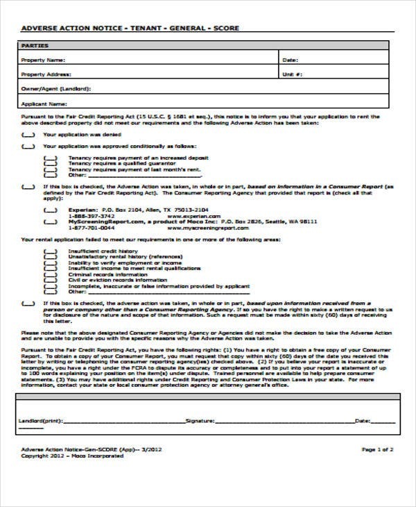 9 Adverse Action Notice Templates - Free Sample, Example Format ...