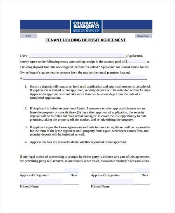8 Deposit Agreement Templates Free Pdf Format Download Free