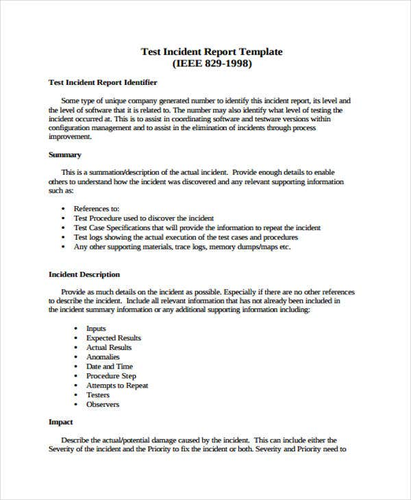 9 test report templates free word pdf format download for Testing procedures template