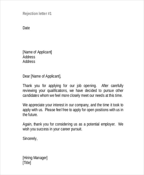 Rejection thank you letter 9 free word pdf format download applicant rejection letter in pdf expocarfo