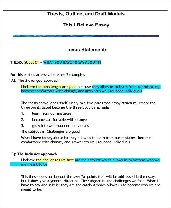 Thesis Outline Templates  Free Sample Example Format Download  Thesis Essay Outline