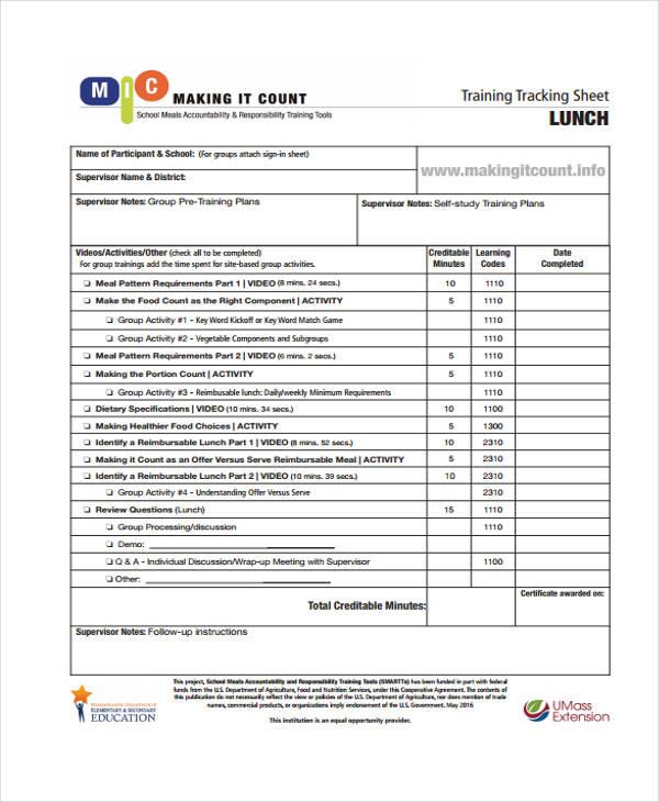 tracking sheet2