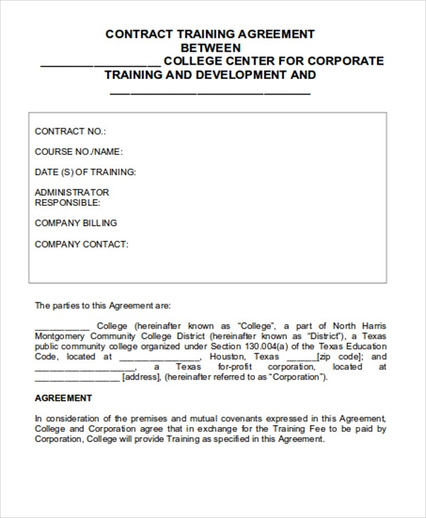 8 Training Contract Templates – Training Agreement Template