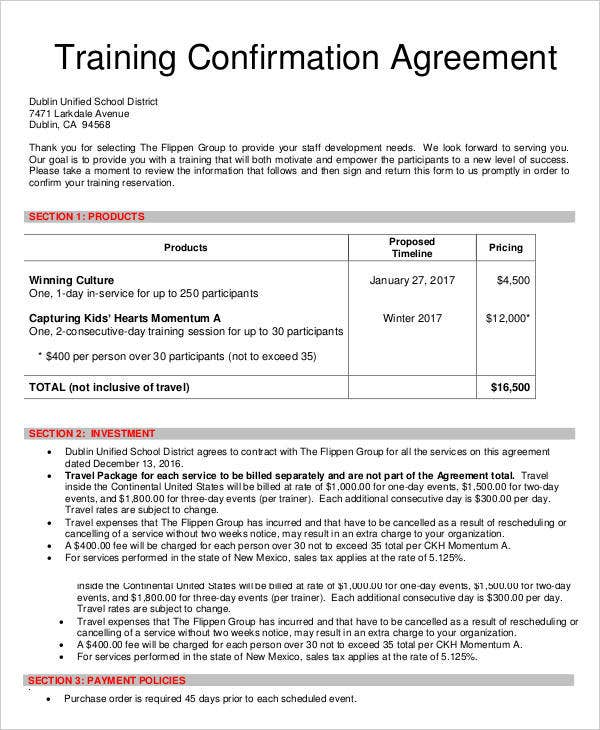Confirmation Agreement Templates   Free Word Pdf Format