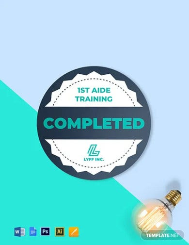training completion badge round template