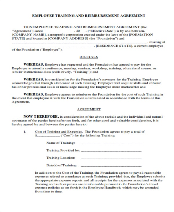 Employee Training U0026 Reimbursement Agreement Intended Employee Training Contract Sample
