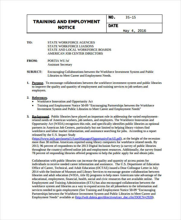 training notice