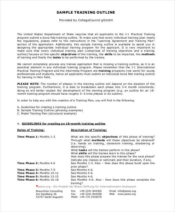 Training Outline Templates  Free Sample Example Format