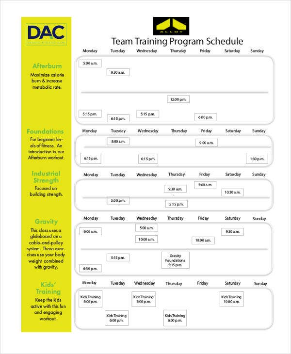 9 team schedule templates free sample example format for Team training plan template