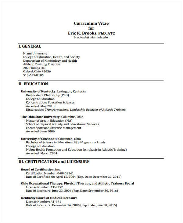 6  education curriculum vitae templates