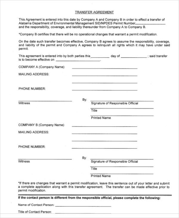 transfer agreement format