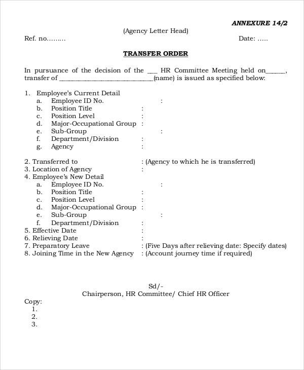 transfer order for employee