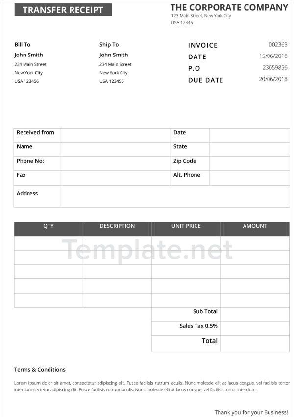 Transfer Receipt Templates